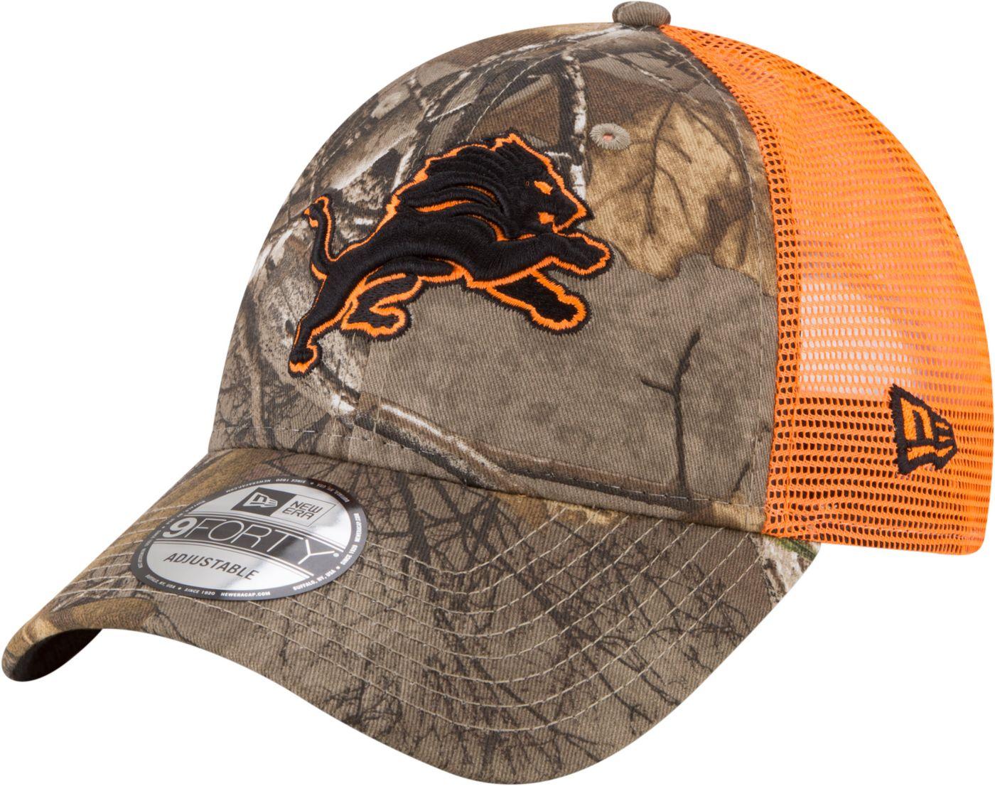 new concept b2edd 2fd24 New Era Men s Detroit Lions Real Tree 9Forty Orange Camo Adjustable Trucker  Hat