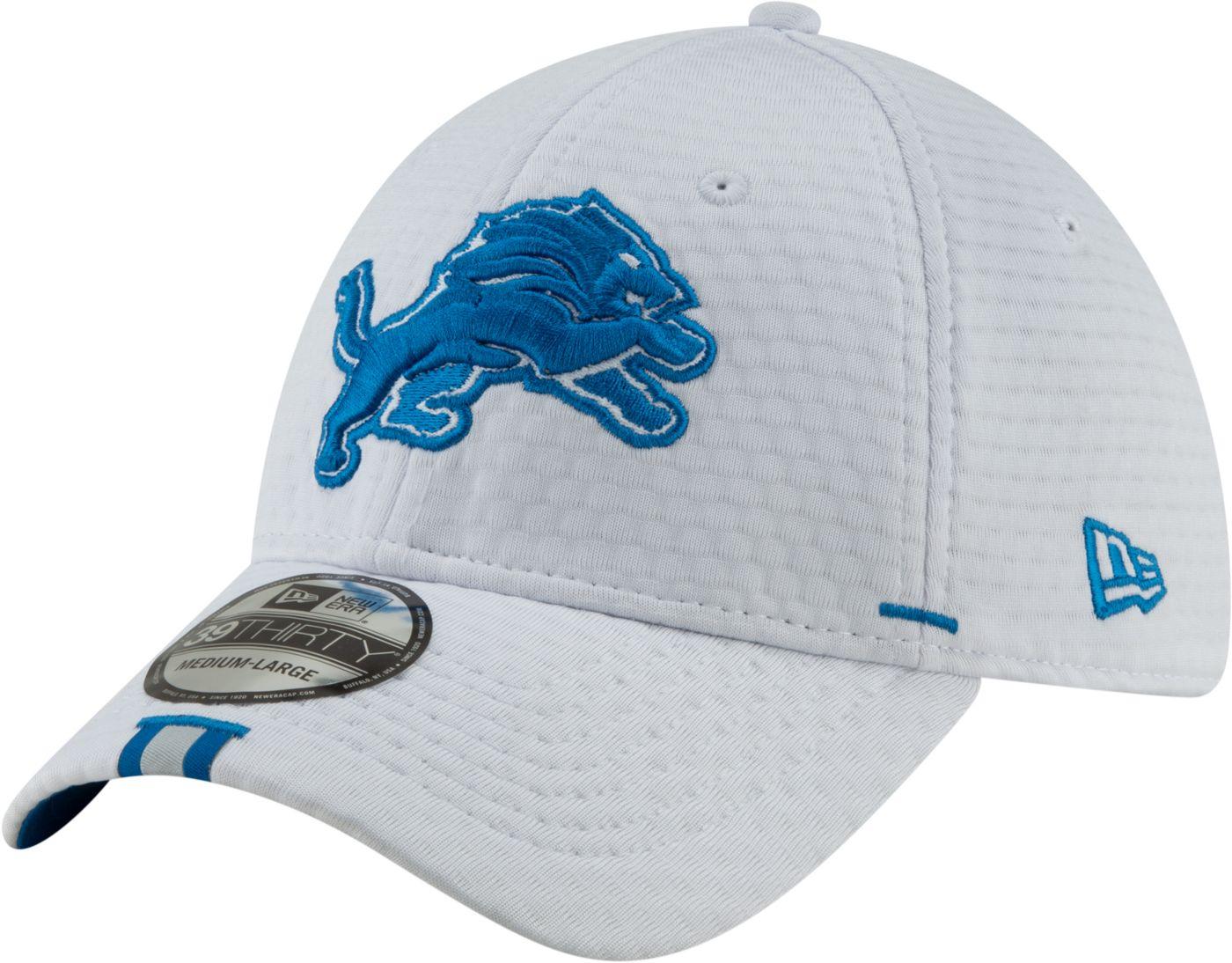 New Era Men's Detroit Lions Sideline Training Camp 39Thirty Stretch Fit White Hat