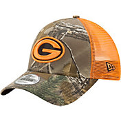 New Era Men's Green Bay Packers Real Tree 9Forty Orange Camo Adjustable Trucker Hat