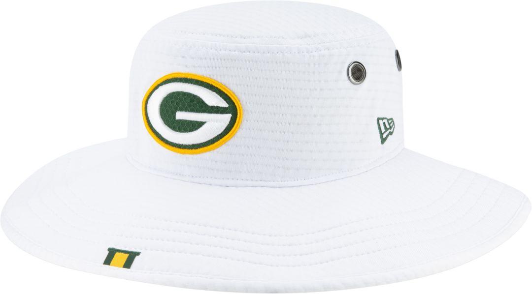 5559da42 New Era Men's Green Bay Packers Sideline Training Camp Panama White Bucket  Hat