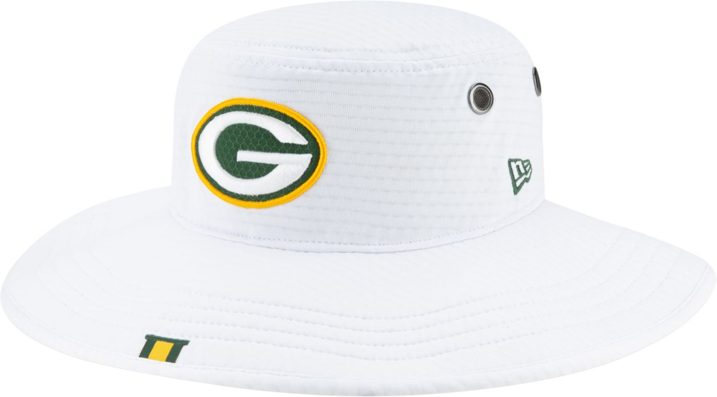 New Era Men's Green Bay Packers Sideline Training Camp Panama White Bucket Hat