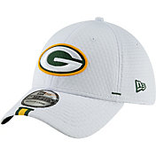 New Era Men's Green Bay Packers Sideline Training Camp 39Thirty Stretch Fit White Hat