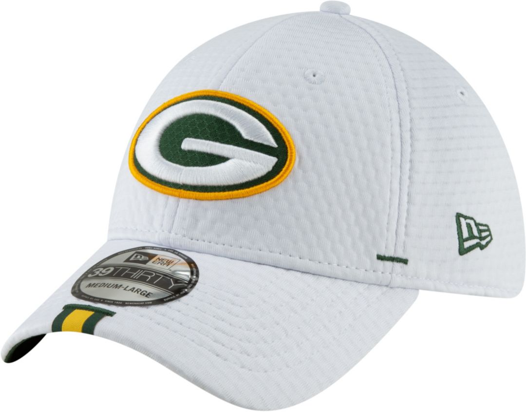 441761f06 New Era Men's Green Bay Packers Sideline Training Camp 39Thirty Stretch Fit  White Hat