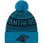 New Era Men's Carolina Panthers Wintry Blue Pom Knit
