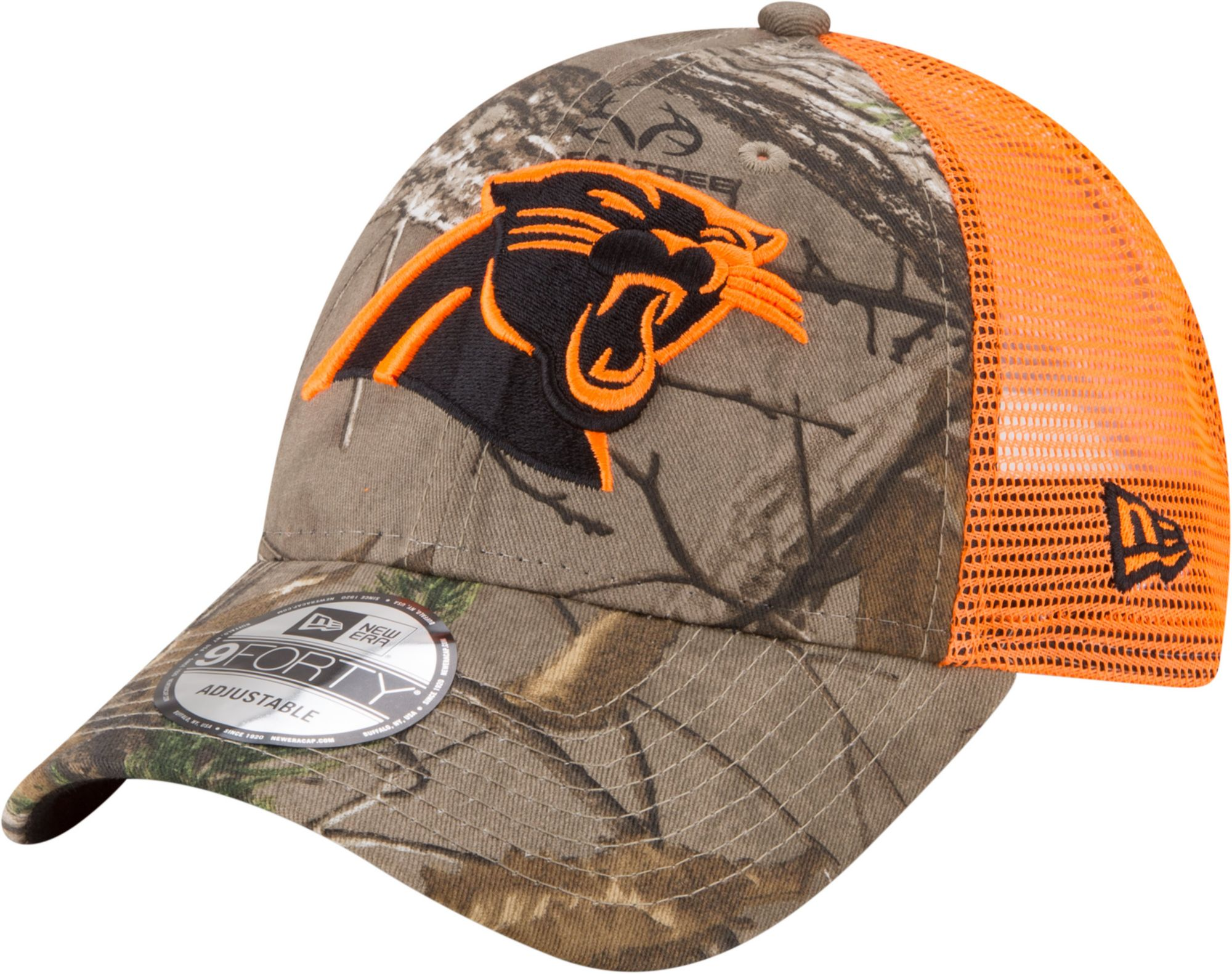d5ebf09508ce6 ... good new era mens carolina panthers real tree 9forty orange camo  adjustable trucker hat 96f74 1c381