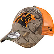 New Era Men's Carolina Panthers Real Tree 9Forty Orange Camo Adjustable Trucker Hat