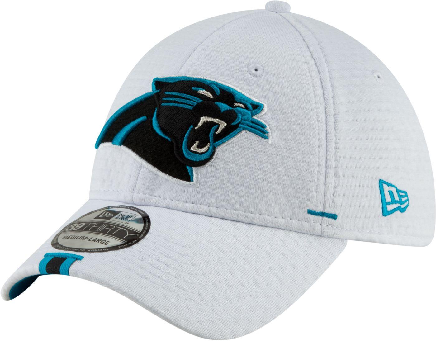 New Era Men's Carolina Panthers Sideline Training Camp 39Thirty Stretch Fit White Hat