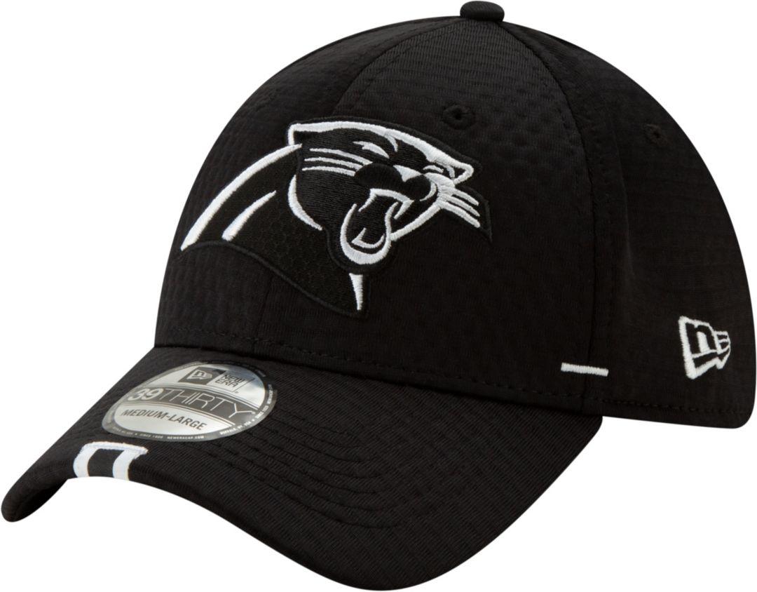 267ece268 New Era Men's Carolina Panthers Sideline Training Camp 39Thirty Stretch Fit  Black Hat
