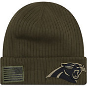 New Era Men's Salute to Service Carolina Panthers Olive Cuffed Knit