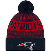 New Era Men's New England Patriots Wintry Navy Pom Knit