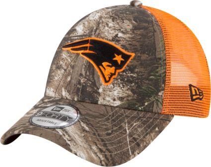 6dad95b2a8a New Era Men s New England Patriots Real Tree 9Forty Orange Camo Adjustable  Trucker Hat. noImageFound