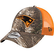 New Era Men's New England Patriots Real Tree 9Forty Orange Camo Adjustable Trucker Hat