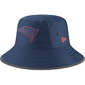 New Era Men's New England Patriots Sideline Training Camp Navy Bucket Hat