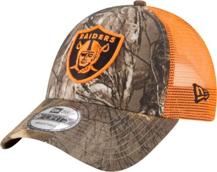 de408599316 New Era Men s Oakland Raiders Real Tree 9Forty Orange Camo Adjustable Trucker  Hat. noImageFound