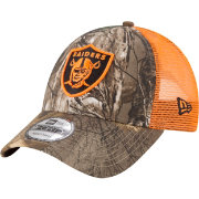 New Era Men's Oakland Raiders Real Tree 9Forty Orange Camo Adjustable Trucker Hat
