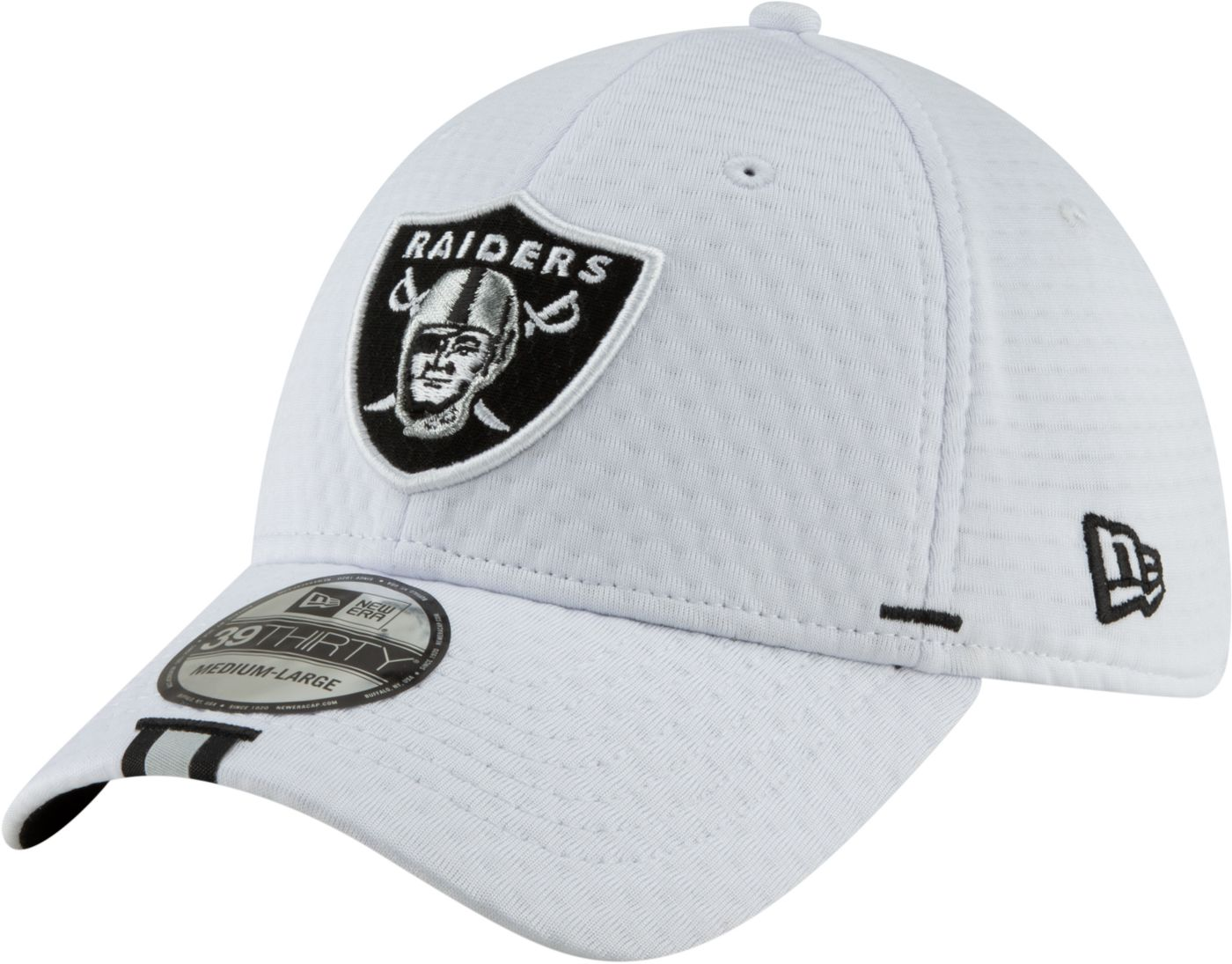 New Era Men's Oakland Raiders Sideline Training Camp 39Thirty Stretch Fit White Hat