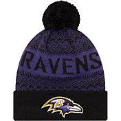 New Era Men's Baltimore Ravens Wintry Black Pom Knit