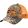 New Era Men's Seattle Seahawks Real Tree 9Forty Orange Camo Adjustable Trucker Hat