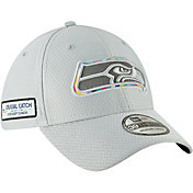 New Era Men's Crucial Catch Seattle Seahawks Sideline 39Thirty White Stretch Fit Hat