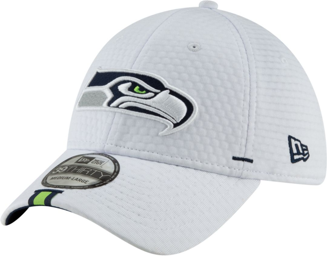 huge discount 39ffa fbe5b New Era Men s Seattle Seahawks Sideline Training Camp 39Thirty Stretch Fit  White Hat 1