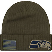 New Era Men's Salute to Service Seattle Seahawks Olive Cuffed Knit