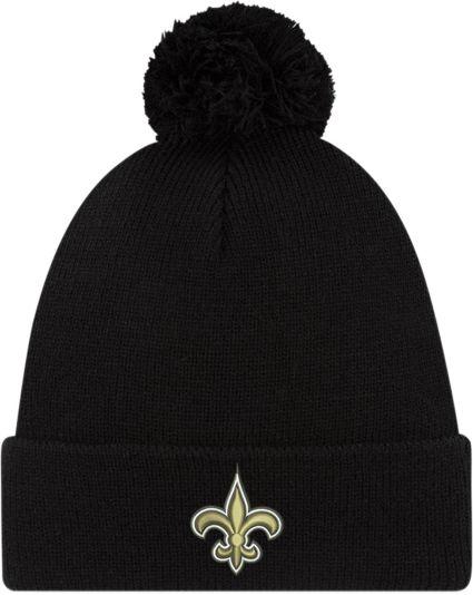 new arrival 6fbfb f1cea New Era Men s New Orleans Saints Black Cuffed Pom Top Knit