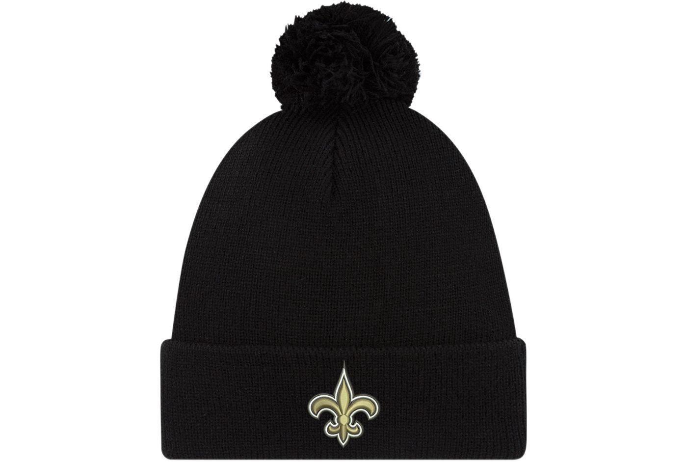 New Era Men's New Orleans Saints Black Cuffed Pom Top Knit