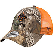 New Era Men's New Orleans Saints Real Tree 9Forty Orange Camo Adjustable Trucker Hat