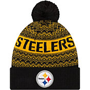 New Era Men's Pittsburgh Steelers Wintry Black Pom Knit