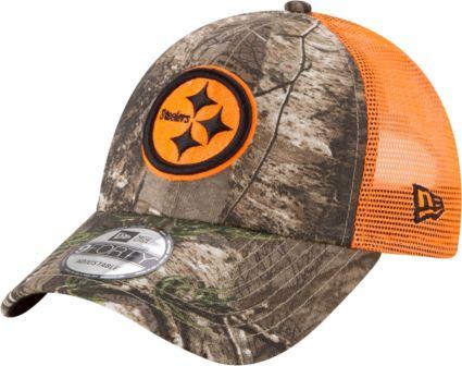 New Era Men s Pittsburgh Steelers Real Tree 9Forty Orange Camo Adjustable Trucker  Hat. noImageFound 34df7318e