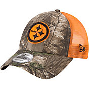 New Era Men's Pittsburgh Steelers Real Tree 9Forty Orange Camo Adjustable Trucker Hat