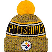New Era Men's Pittsburgh Steelers Sideline Cold Weather Reverse Yellow Sport Knit