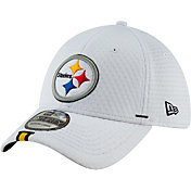 New Era Men's Pittsburgh Steelers Sideline Training Camp 39Thirty Stretch Fit White Hat