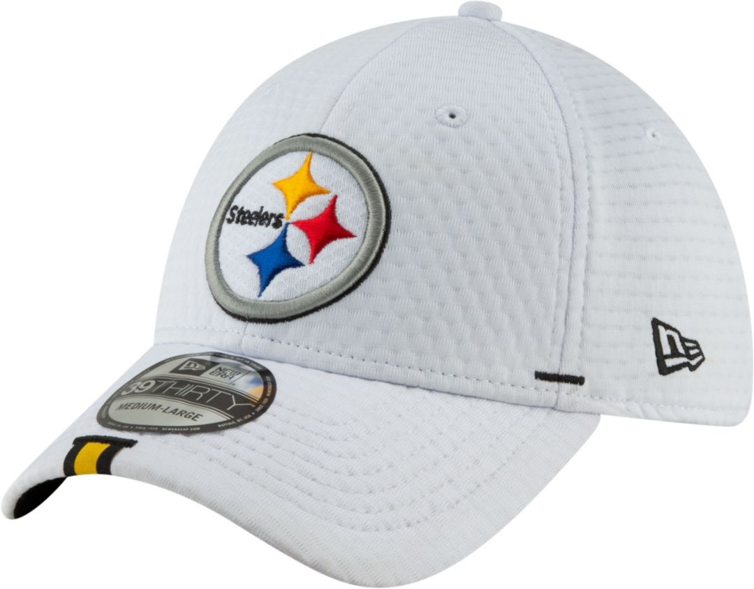 wholesale dealer 99632 4a08b New Era Men s Pittsburgh Steelers Sideline Training Camp 39Thirty Stretch  Fit White Hat 1