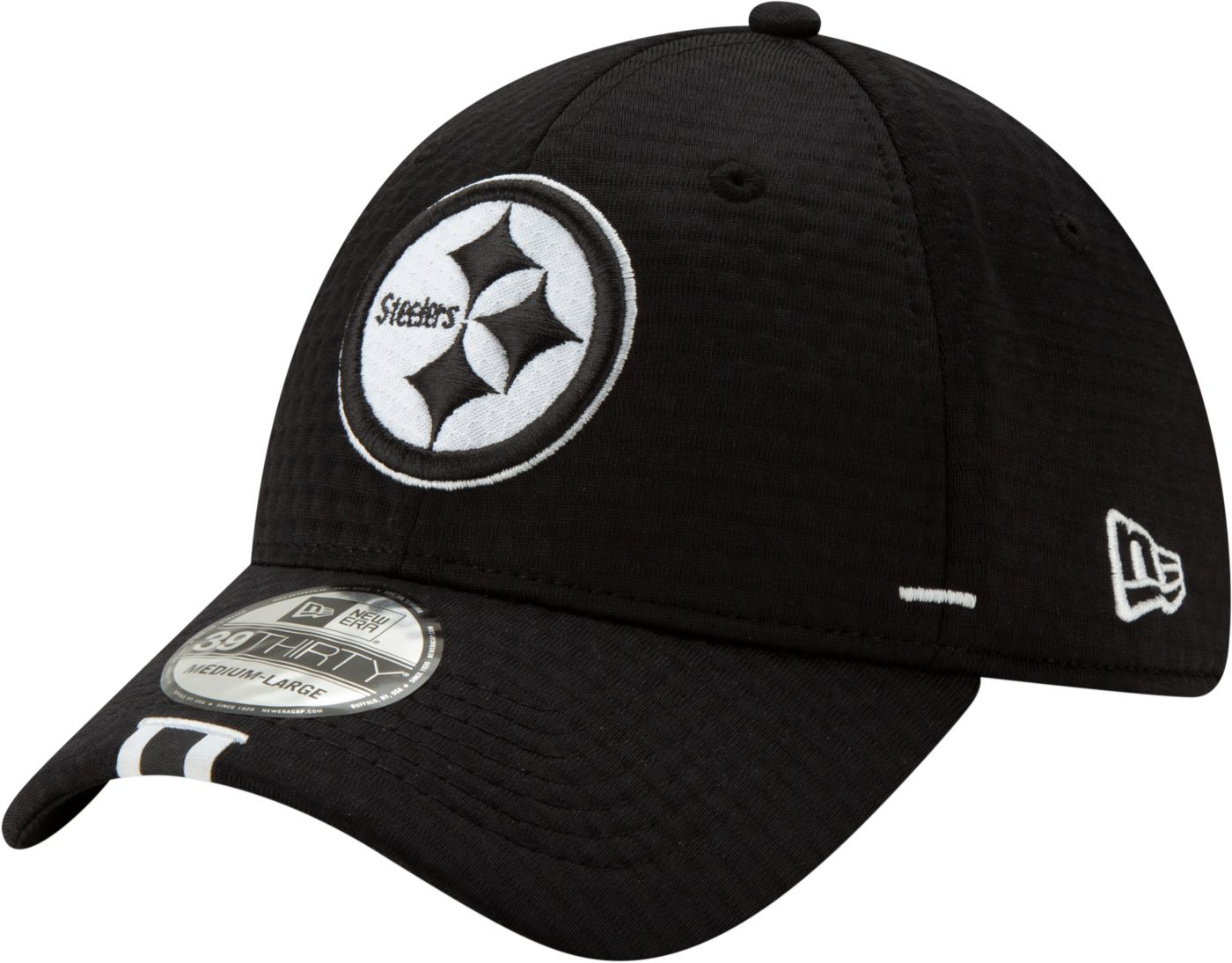 New Era Men's Pittsburgh Steelers Sideline Training Camp 39Thirty Stretch Fit Black Hat