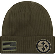 New Era Men's Salute to Service Pittsburgh Steelers Olive Cuffed Knit
