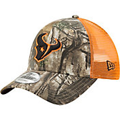 New Era Men's Houston Texans Real Tree 9Forty Orange Camo Adjustable Trucker Hat