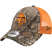 New Era Men's Minnesota Vikings Real Tree 9Forty Orange Camo Adjustable Trucker Hat