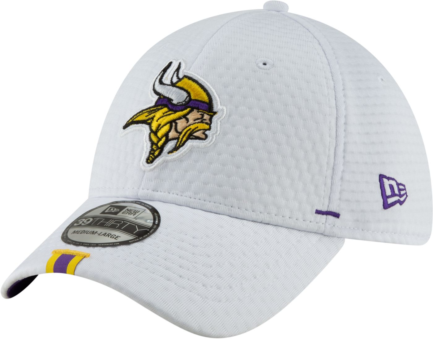 New Era Men's Minnesota Vikings Sideline Training Camp 39Thirty Stretch Fit White Hat