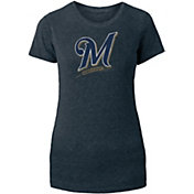 New Era Women's Milwaukee Brewers Navy Tri-Blend T-Shirt