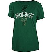 New Era Women's Milwaukee Bucks Lace-Up V-Neck T-Shirt