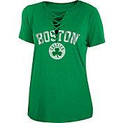 New Era Women's Boston Celtics Lace-Up V-Neck T-Shirt