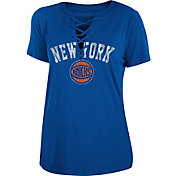 New Era Women's New York Knicks Lace-Up V-Neck T-Shirt