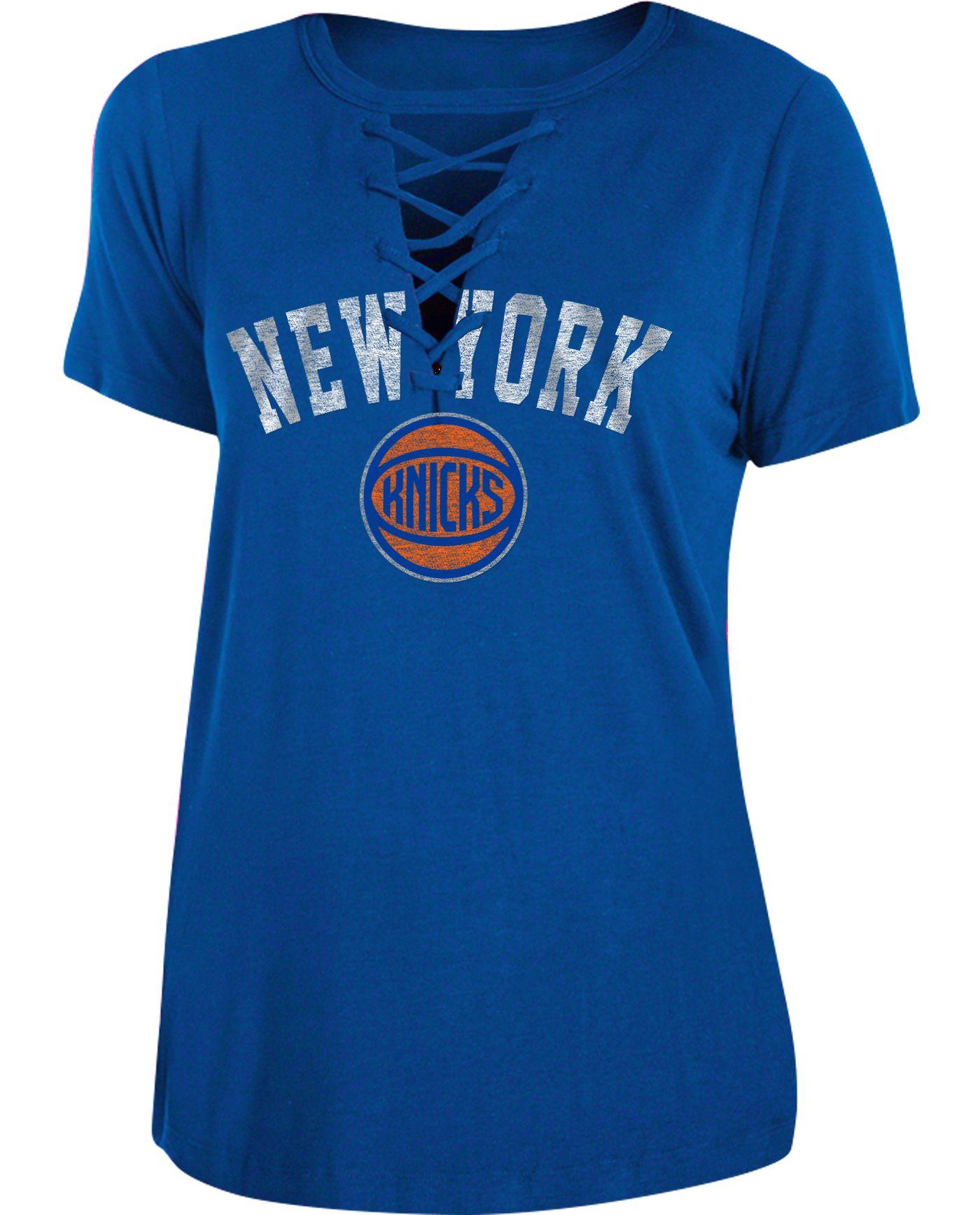 New Era Women's New York Knicks Lace-Up V-Neck T-Shirt