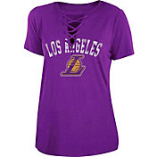 New Era Women's Los Angeles Lakers Lace-Up V-Neck T-Shirt