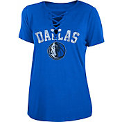 New Era Women's Dallas Mavericks Lace-Up V-Neck T-Shirt