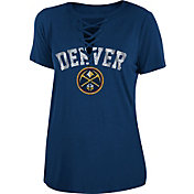 New Era Women's Denver Nuggets Lace-Up V-Neck T-Shirt