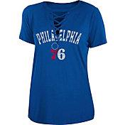 New Era Women's Philadelphia 76ers Lace-Up V-Neck T-Shirt