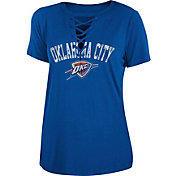 New Era Women's Oklahoma City Thunder Lace-Up V-Neck T-Shirt