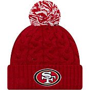 New Era Women's San Francisco 49ers Cozy Cable Red Pom Knit